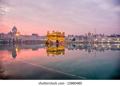 Golden Temple in Amritsar at sunset, Punjab, India.