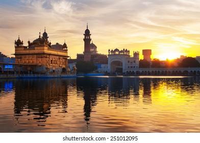 Golden Temple (Harmandir Sahib also Darbar Sahib) in the early morning at sunrise. Amritsar. Punjab. India