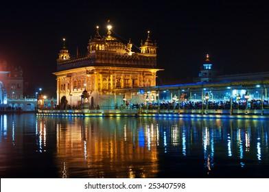 Golden Temple (Harmandir Sahib also Darbar Sahib) at night. Amritsar. Punjab, India