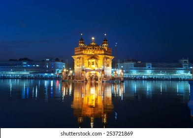 Golden Temple (Harmandir Sahib also Darbar Sahib) at night. Amritsar. Punjab. India