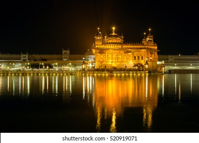 Golden Temple (Harmandir Sahib) at night in Amritsar, Punjab, India