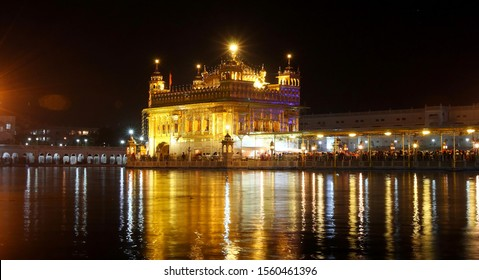 Golden Temple or Harmandir Sahib under night sky. Holy Sikh Place Harmandir Sahib Gurdwara. India, Amritsar, Punjab