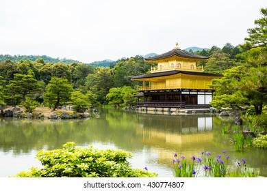 Golden temple kinkakuji castle on middle lake, Japan.