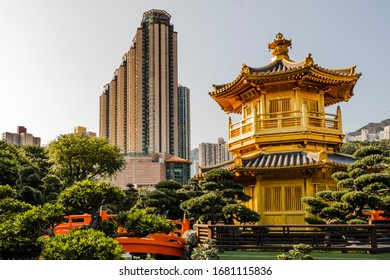 Golden temple and modern building