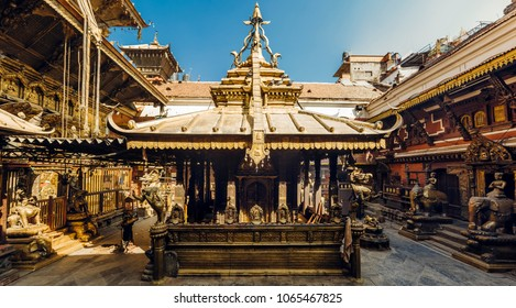 The golden temple in Patan, unique Buddhist monastery in north of Durbar Square, Kathmandu of Nepal.
