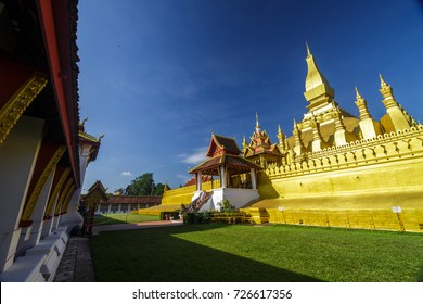Golden temple at Pha That Luang, a Buddhist pagoda in Vientiane, Laos