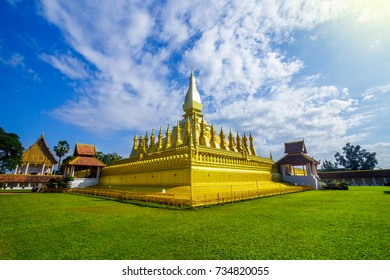 Golden temple of Pha That Luang, a Buddhist pagoda in Vientiane, Laos