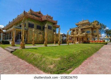 Golden Temple with Golden Swan Pole in Wat Thai Wattanaram (Wat Thai Yai), Burmese-style temple, Tak Thailand