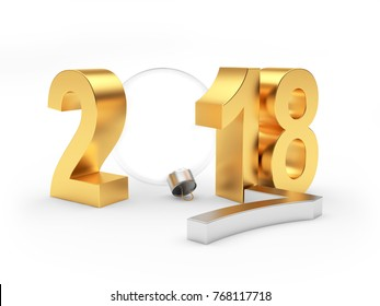 Golden text 2018 with a fallen silver figure of 7 and a transparent Christmas ball. 3D illustration
