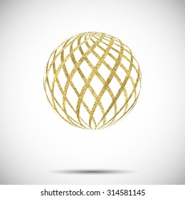 golden textured sphere ball with ornament and stripes