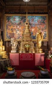 Golden Thai Bhudda statues at Pattaya Floating market, Pattaya, Thailand, May 13, 2018 : A Bhuddist worship shrine for religious attraction.