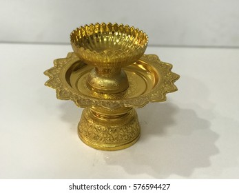 Golden Thai ornamental tray and bowl