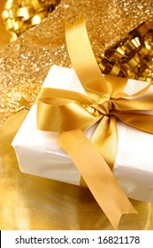 golden theme with presents