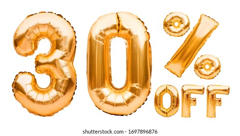Golden thirty percent sale sign made of inflatable balloons isolated on white. Helium balloons, gold foil numbers. Sale decoration, black friday, discount concept. 30 percent off, advertisement.