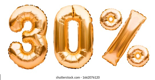 Golden thirty percent sign made of inflatable balloons isolated on white. Helium balloons, gold foil numbers. Sale decoration, black friday, discount concept. 30 percent off, advertisement message.