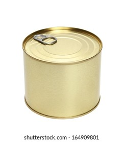 Golden tin can isolated on a white background