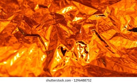 Golden tin foil, close up
