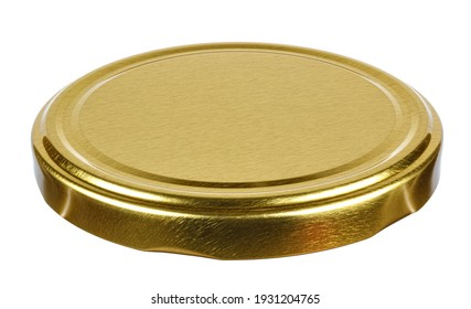 Golden tin screw lid for glass jar isolated on white background