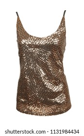 Golden top with sequins, isolated on white