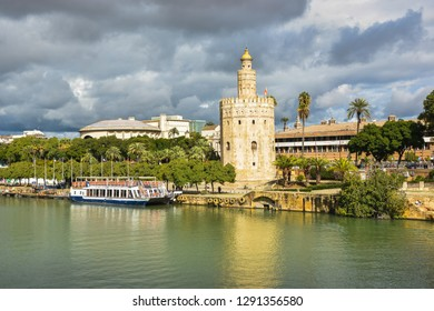 Golden Tower in Seville, the capital of Andalusia. One of the symbols of the city, a popular object for tourists.