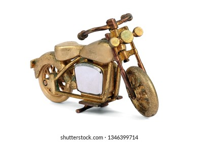 Golden toy old Motorcycle Bigbike isolated on white background. This has clipping path