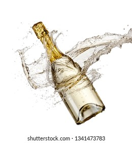 Golden transparent champagne bottle splash
