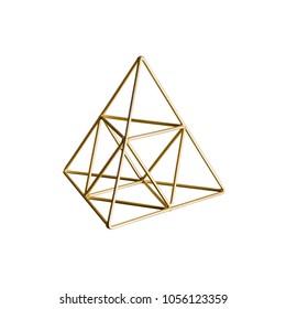 Golden triangular pyramid isolated on white background, Trigonometric representation of a volume