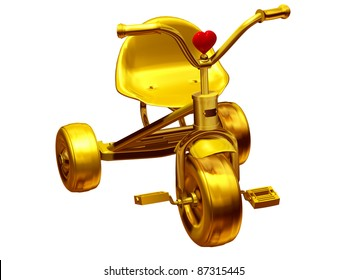 golden tricycle with a red heart for our children