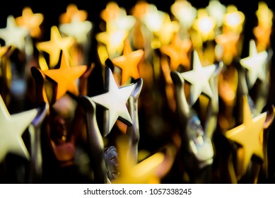 Golden trophy The big star. Prepare for the talented person and win the job