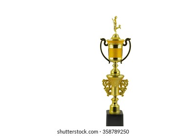 Golden trophy,  Trophy for championship close up of the trophy isolated on white background.