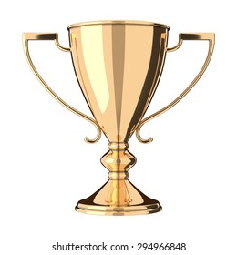 Golden trophy cup isolated on white background. Victory, best product, service or employee, first place concept. Achievement in sports. Isolated on white background.