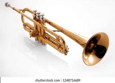 golden trumpet on white background
