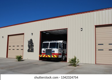 Golden Valley Arizona USA May thirteenth 2016. KME Fire Engine Pulling Out Of The Firehouse In Golden Valley Mohave County Arizona.