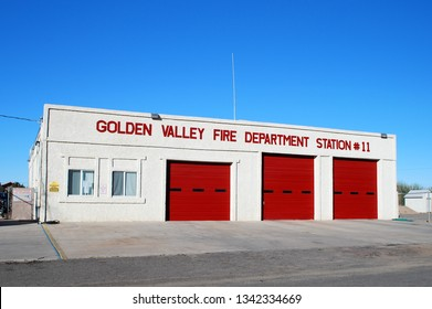 Golden Valley Arizona USA May Fourth 2014. Firehouse Of The Golden Valley Fire Department, Mohave County Arizona.