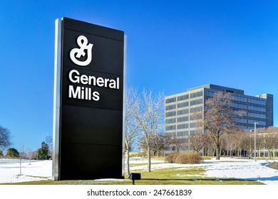 GOLDEN VALLEY, MN/USA - JANUARY 18, 2015: General Mills corporate headquarters and sign. General Mills, Inc. is an American multinational Fortune 500 corporation food products conglomerate.