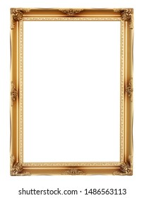 Golden vintage frame isolated on white background. Clipping path