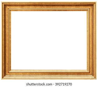 Golden vintage frame isolated on white. Gold frame louis abstract design.