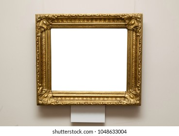 Golden vintage frame on wall
