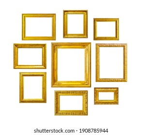 Golden vintage frames on white background. Set of golden frames for paintings, mirrors or photo isolated on white background.