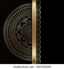 Golden vintage greeting card on a black background. Ethnic mandala pattern. Hand drawn illustration