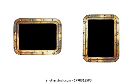 Golden vintage metal frame isolated at white background. Bronze border on the ship porthole with rivets at the old sail vessel as a decor element of window for your marine design.