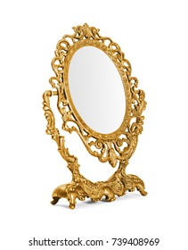 Golden vintage mirror isolated on white background, included clipping path