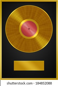 Golden Vinyl Record Label Frame