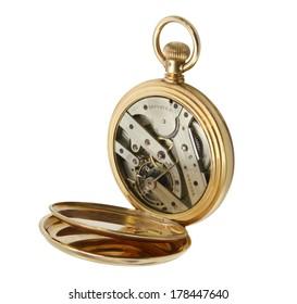 golden watch on white background.