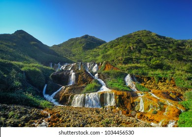 Golden Waterfall - Famous nature landscape of Jinguashi, shot in in Ruifang District, New Taipei City, Taiwan.