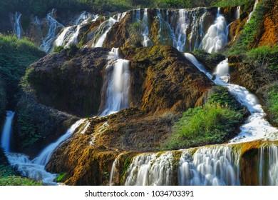 Golden Waterfall - Famous nature landscape of Jinguashi, shot in in Ruifang District, New Taipei City, Taiwan.