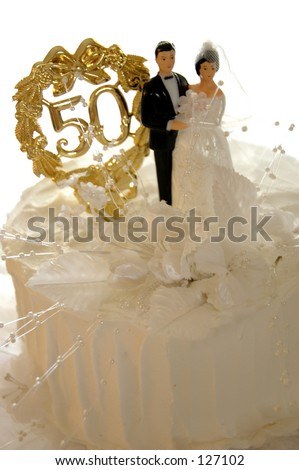 Golden Wedding Anniversary Cake Isolated Stock Photo Edit Now