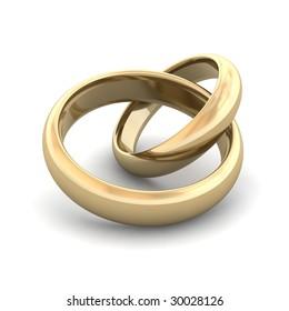 Golden wedding rings. 3d rendered illustration.