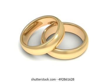 golden wedding rings concept   3d illustration