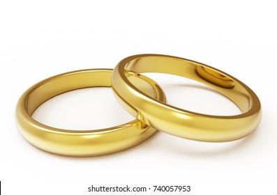 Golden wedding rings on a white background 3d illustration